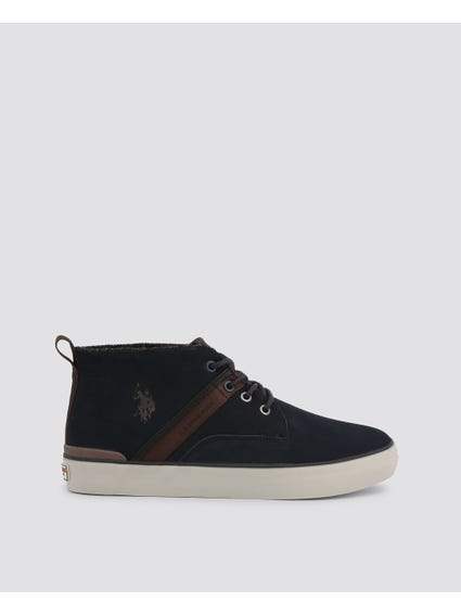 Blue Anson Leather High Top Sneakers