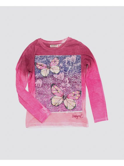 Pink Sequin Butterfly Kids Top