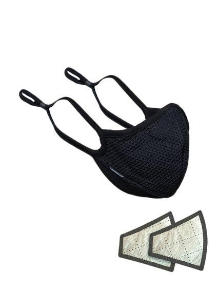 Black Elastic Fabric Mesh Face Mask