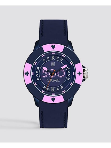 Blue Silicone Poker Quartz Watch