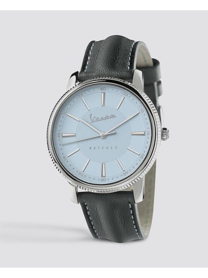 Heritage Light Blue Dial Leather Watch