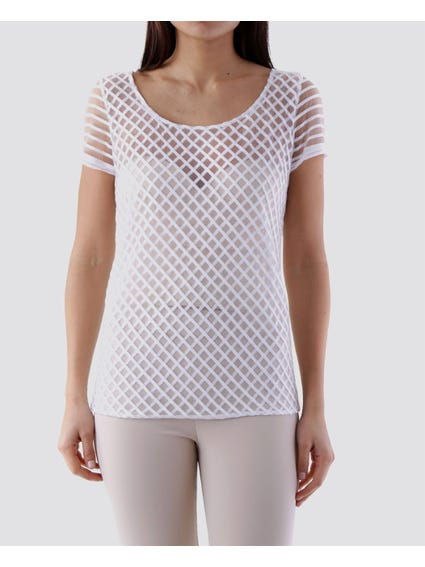 White Crossover Mesh Top
