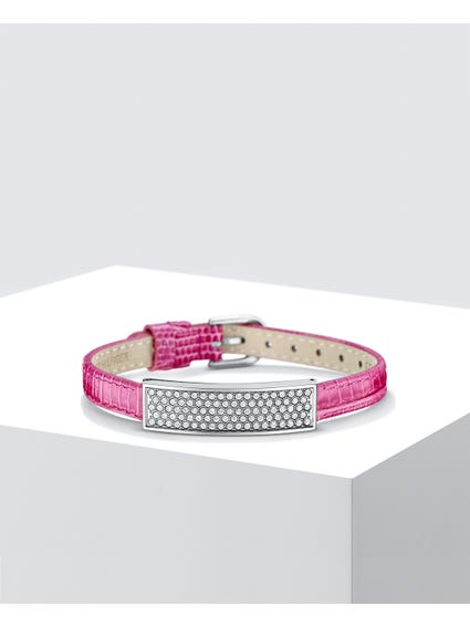 Pink Sparkle Leather Bracelet