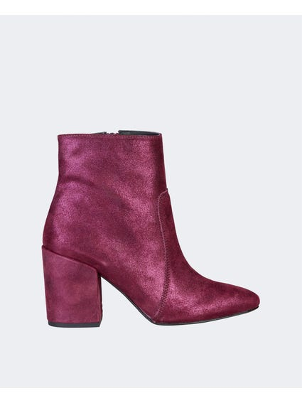 Red Nadia Side Zipped Ankle Boots