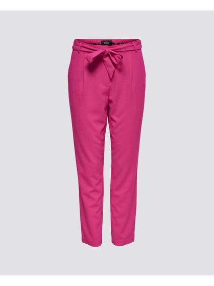 Pink Belted Full Length Trouser