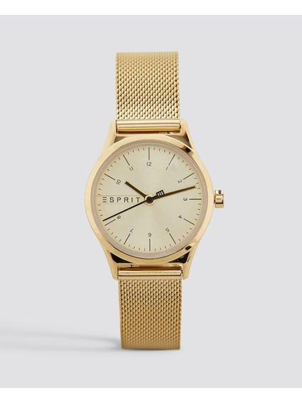 Gold Mesh Stainless Steel Watch