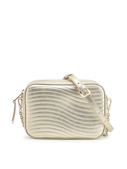 Metallic Shoulder Strap Crossbody Bag