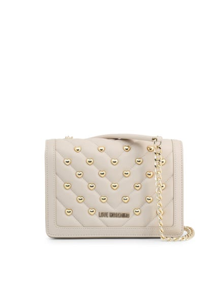 White Leather Quilted Studs Crossbody Bag