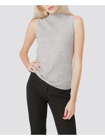 Grey Ribbed Sleeveless Sweater