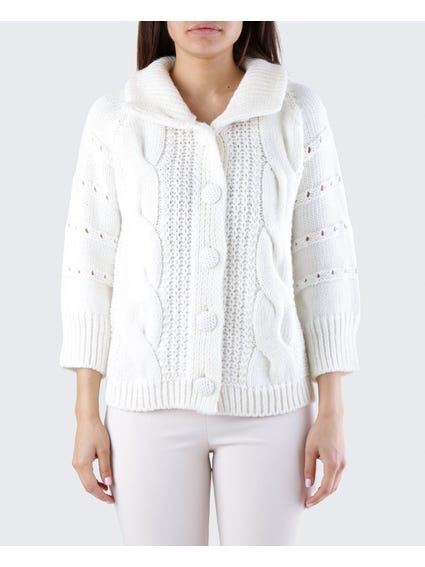 White Cut Out Sleeves Cardigan
