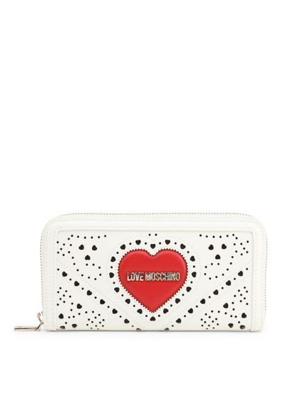 Round Zipper Leather Heart Wallet