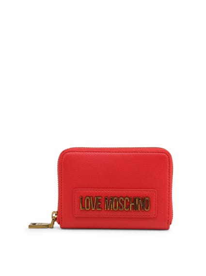 Red Embossed Zip Wallet