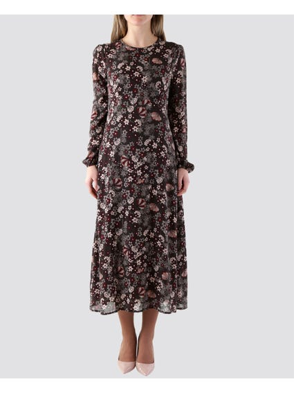 Floral Long Sleeves Midi Dress