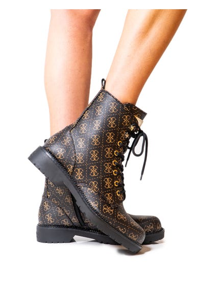 Printed Lace Up Ankle Boots