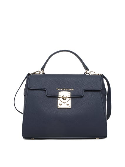 Blue Leather Snap Lock Hand Bag