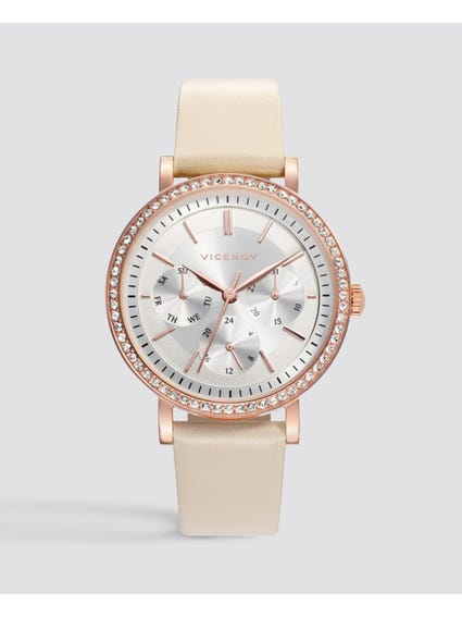 Glamour Silver Dial Leather Watch