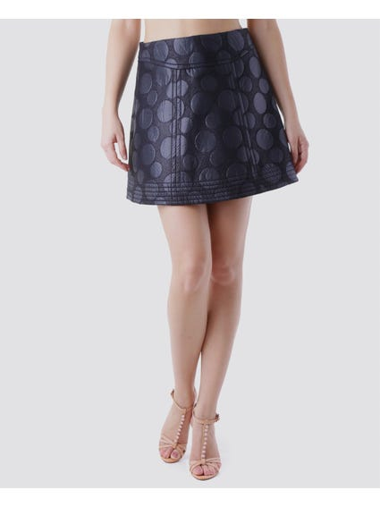 Side Zip Geometric Midi Skirt