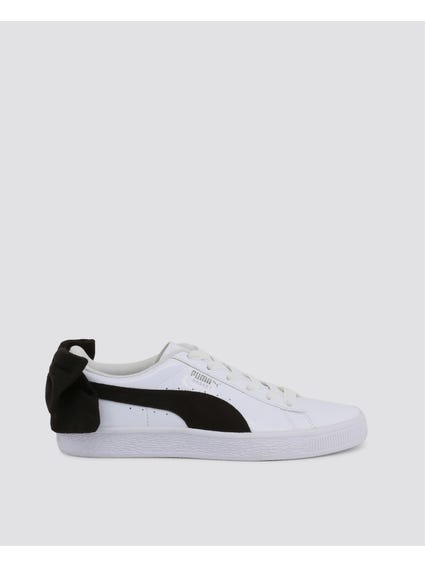 White Suede Bow Varsity Sneakers