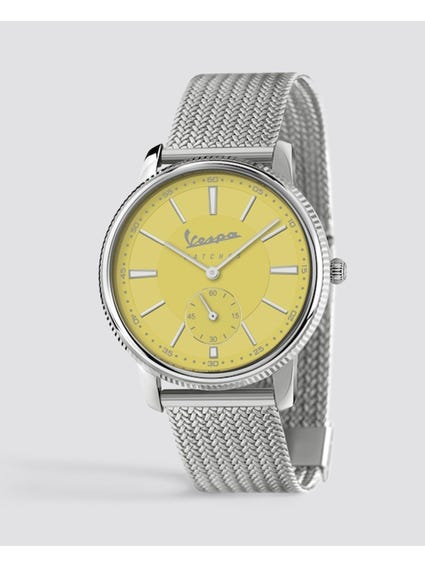 Piccolo Secondo Yellow Dial Stainless Steel Watch
