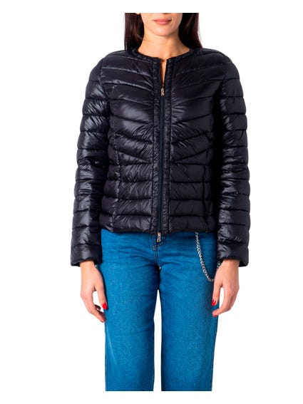 Black Quilted Plain Manisa Jacket