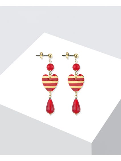 Red Brass Earrings