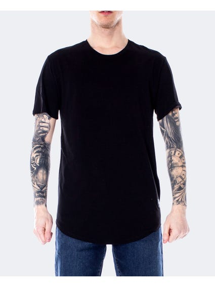 Black Crew Neck Curve Hem T-Shirt