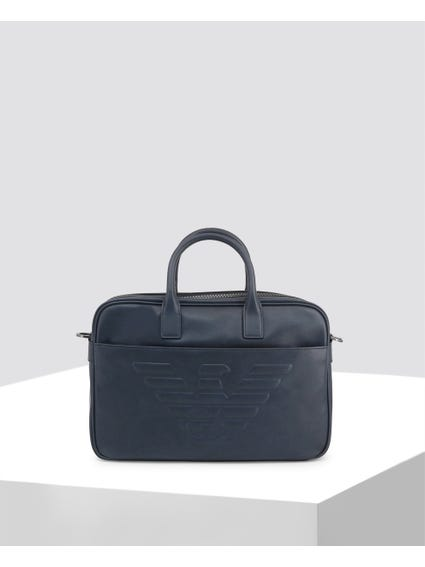 Blue Plain Leather Briefcase
