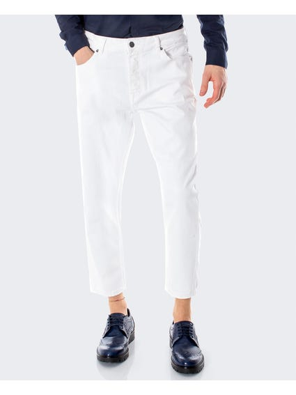 Beam White Cropped Jeans