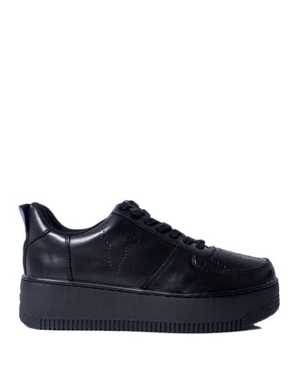 Black Leather Wide Sole Sneakers
