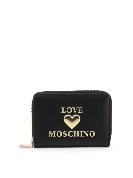 Black Embossed Love Zip Wallet