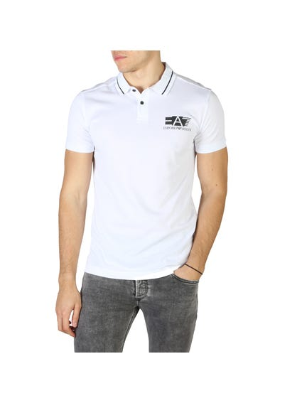 White Left Chest Printed Logo Polo Shirt