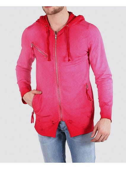 Pink Tattered Below and Draw String Hoodie