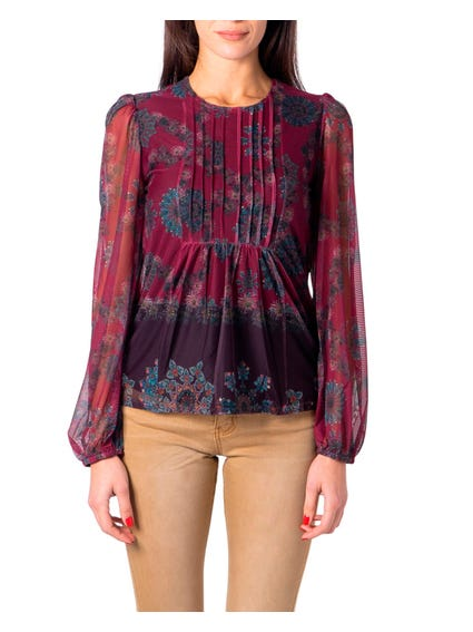 Bordeaux Floral Printed Longsleeves T Shirt