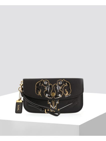 Black Embossed Upper Clutch Bag