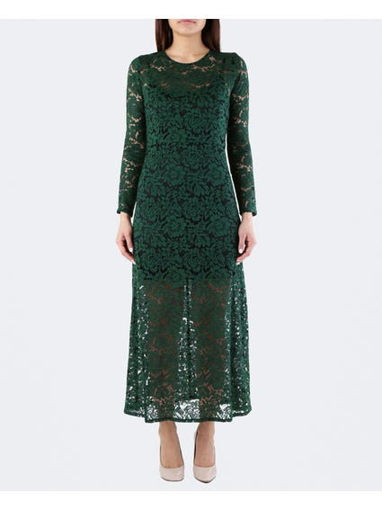 Green Crew Neck Lace Maxi Dress