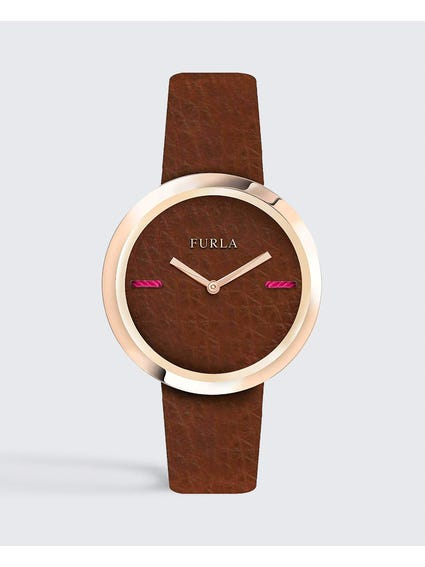 Brown My Piper Calfskin Leather Watch