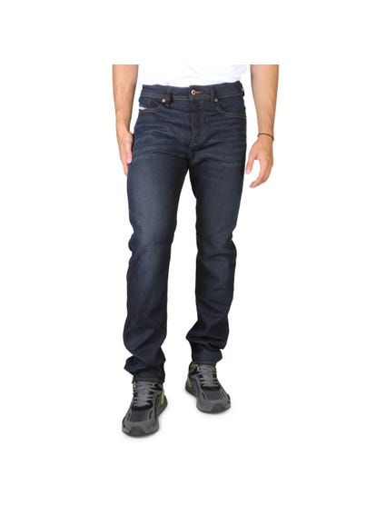 Dark Blue Pattern Regular Fit Jeans