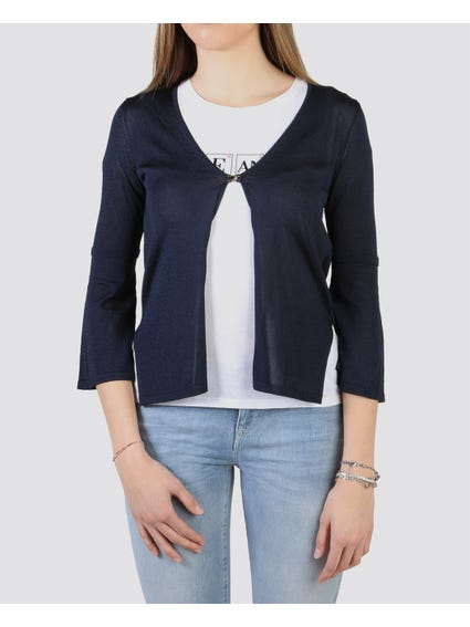 Navy Plain Crop Cardigan