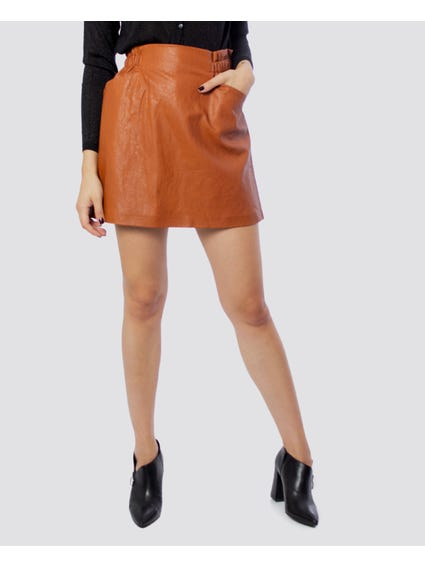 Brown Plain Mini Skirt