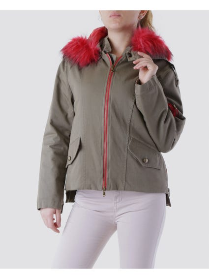 Hood Neck Faux Jacket
