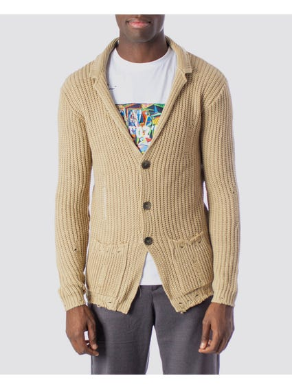 Beige Collar Button Cardigan