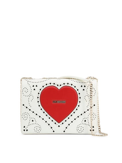 White Leather Heart Studs Crossbody Bag