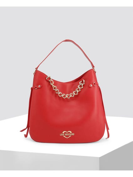 Red Sophisticated Leather Shoulder Bag