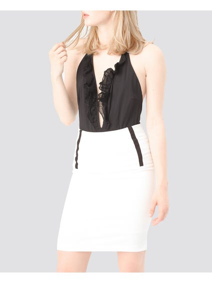 White Contrast Details Skirts