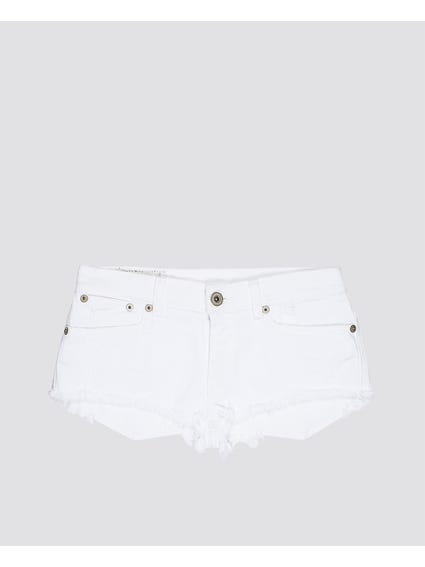White Frayed Hem Kids Short