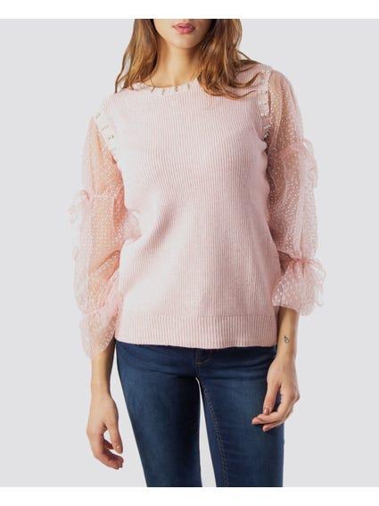 Pink Beaded Pearl Knitwear