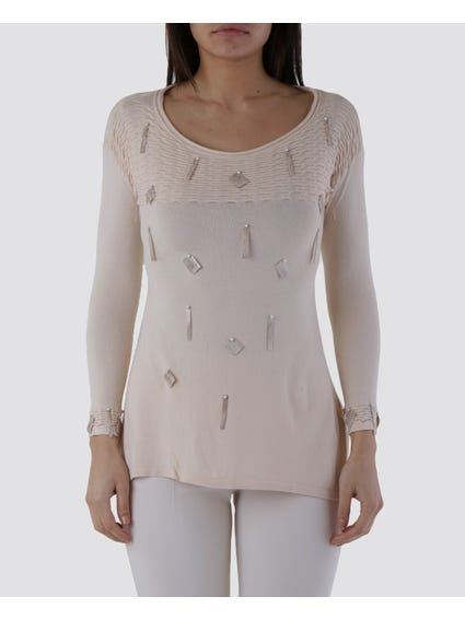 Embellished Faux Pearl Long Sleeves Top