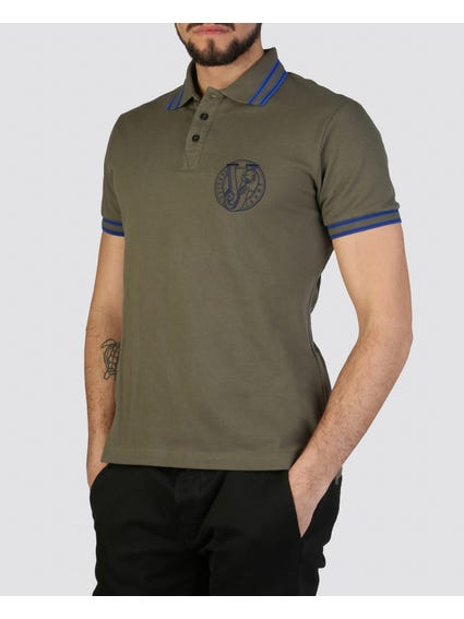 Green Contrast Embroidered Polo Shirt