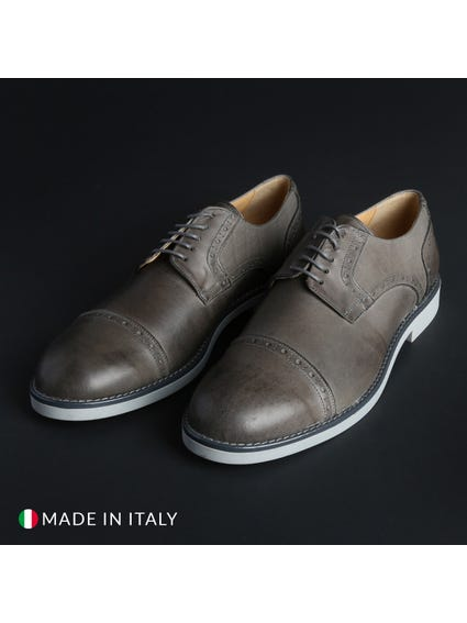 Grey Round Toe Leather Lace Shoes
