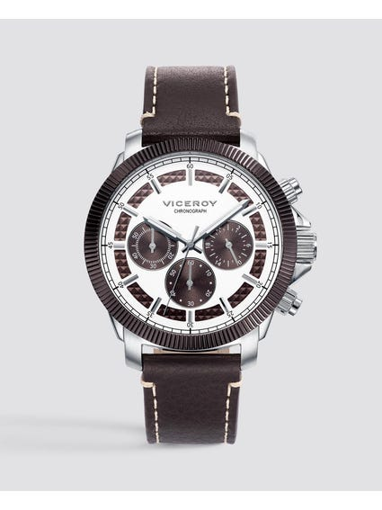 Magnum Silver Dial Leather Watch